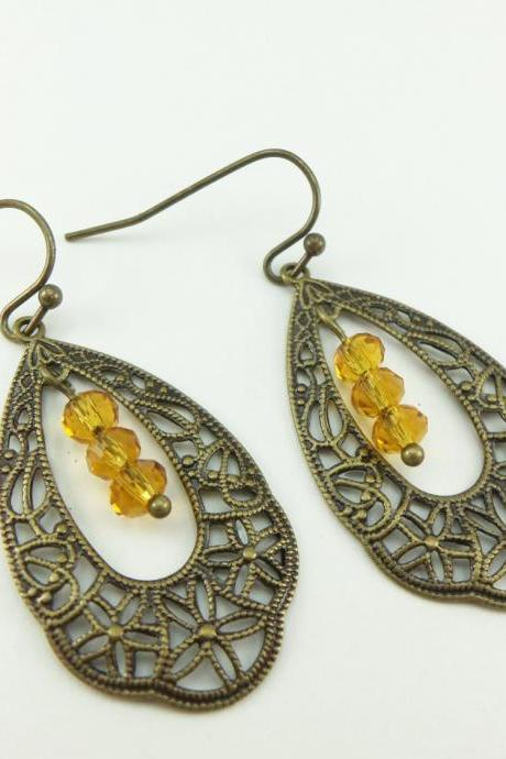 Brass Dangle Amber Earrings Filigree Teardrop Earrings