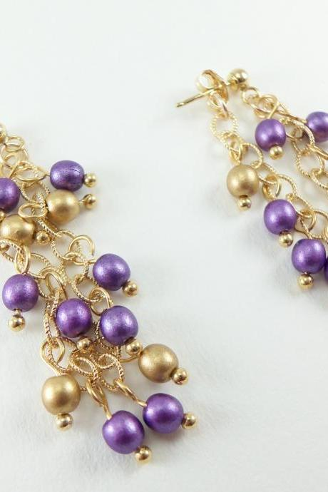 Gold Dangle Earrings Chain Earrings Purple Earrings 14k Gold Jewelry Purple and Gold Stud Earrings