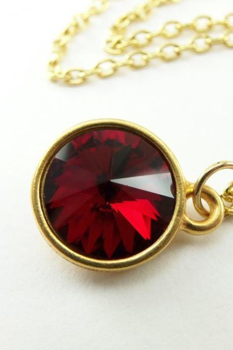 Gold Garnet Necklace Crystal Necklace Gold Jewelry Garnet Necklace Gold Necklace January Birthstone Necklace