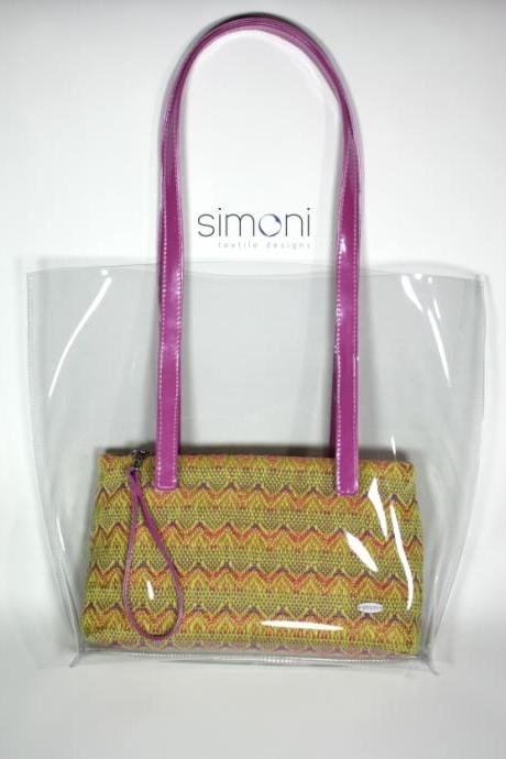I love Colours plastic bag with woven Purse
