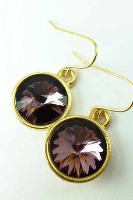 Anitque Pink Drop Earrings Crystal Drop Earrings Gold Dangle Earrings Mauve Pink Earrings