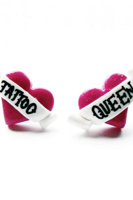 Tattoo Queen Heart Stud Earrings