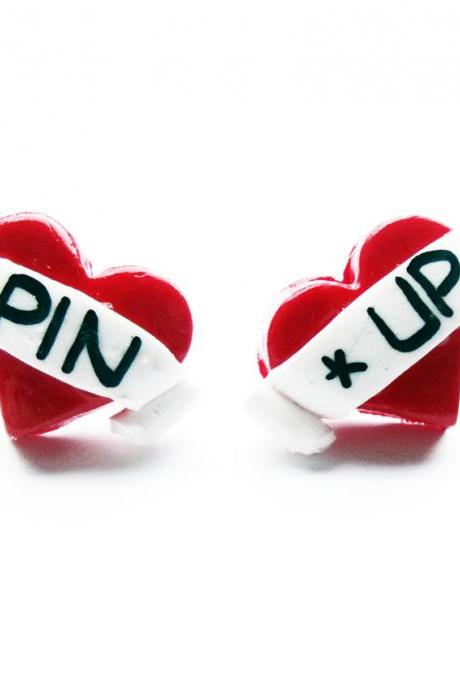 Pin Up Tattoo Heart Studs