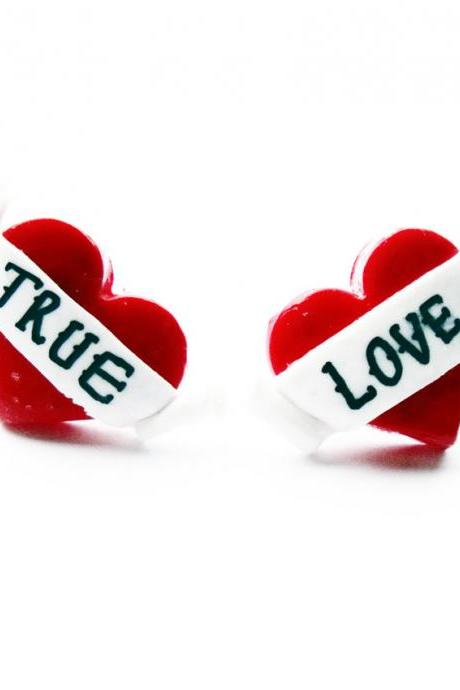 True Love Heart Stud Earrings