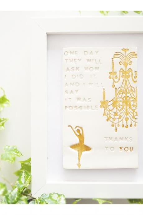 Thank you ceramic wall art. Choose your frame. Handmade porcelain tile with golden paint.