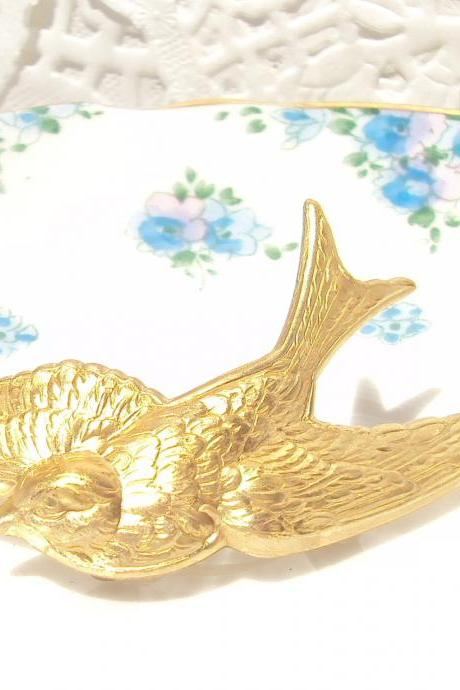 Flight - Gold Sparrow Hair Barrette - Whimsy - Whimsical - Woodland - Bridal