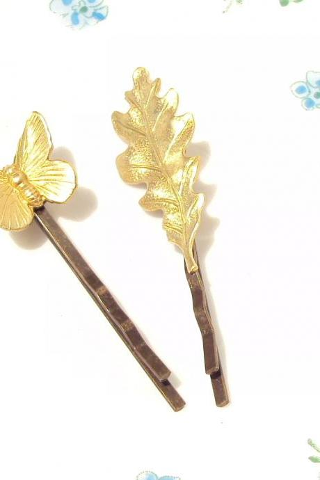 Gold Leaf and Butterfly Hair Pin Set - Bobby Pin - Woodland Collection - Whimsical - Nature - Bridal