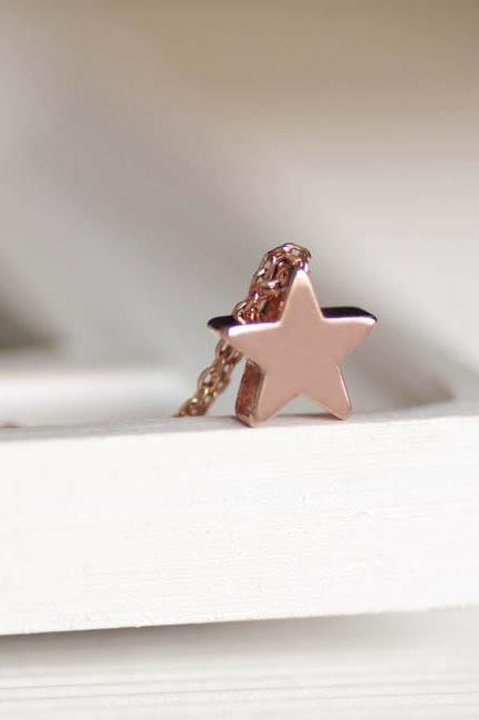 Pink Gold Star Necklace, Wish Star Charm Friendship Jewelry