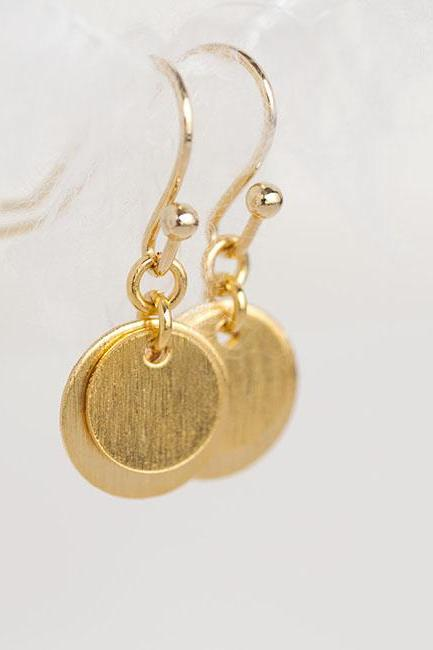 Gold Disc Coin Earrings, Dainty Dangle Overlay Circle Earrings, Matoto Minimalist Collection