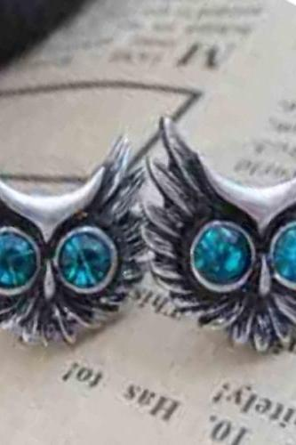 Owl Ear Stud, Owl Jewelry, Free Shipping Owl Ear Stud