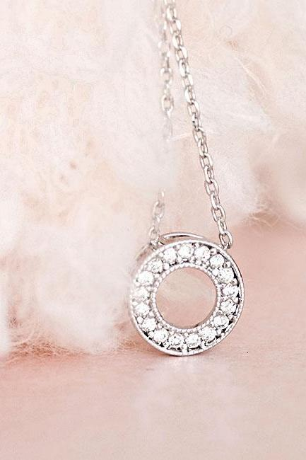Silver Pave Crystal Bezel Necklace, Sparkle Cubic Zirconia Charm