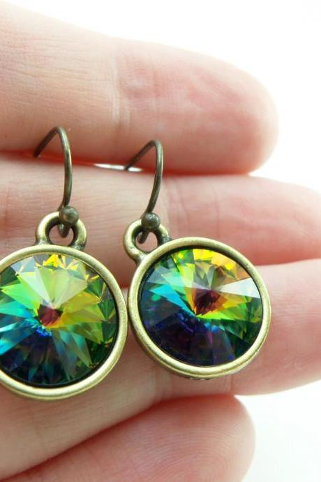 Rainbow Earrings Antiqued Brass Crystal Earrings Rainbow Crystal Modern Drop Earrings