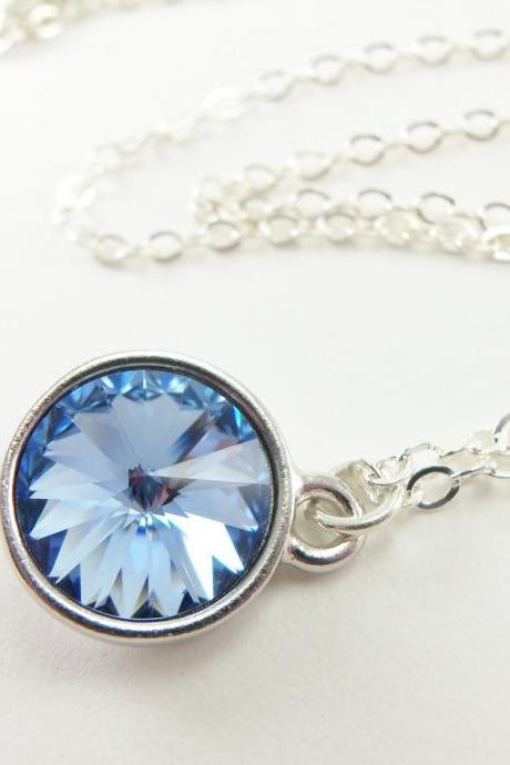 Light Blue Necklace Pale Blue Crystal Necklace Sterling Silver Jewelry Rivoli Light Sapphire