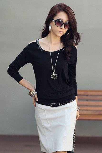 Korean Skinny Long Sleeve Rivets Cotton T-shirt - Black