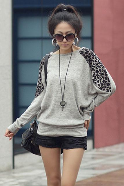 Korean Casual Batwing Long Sleeve Leopard Block Loose Cotton T-shirt - Grey