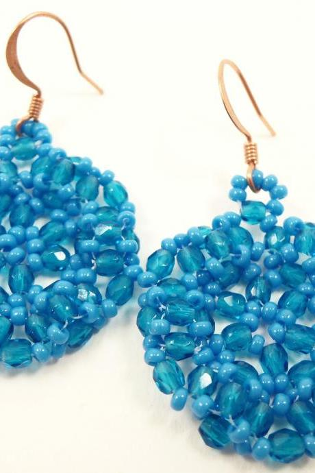 Electric Blue Beaded Earrings Blue Circle Jewelry Bright Copper Earwires