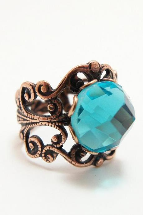 Aqua Ring Copper Jewelry Adjustable Ring Victorian Style Aqua Blue Ring Filigree