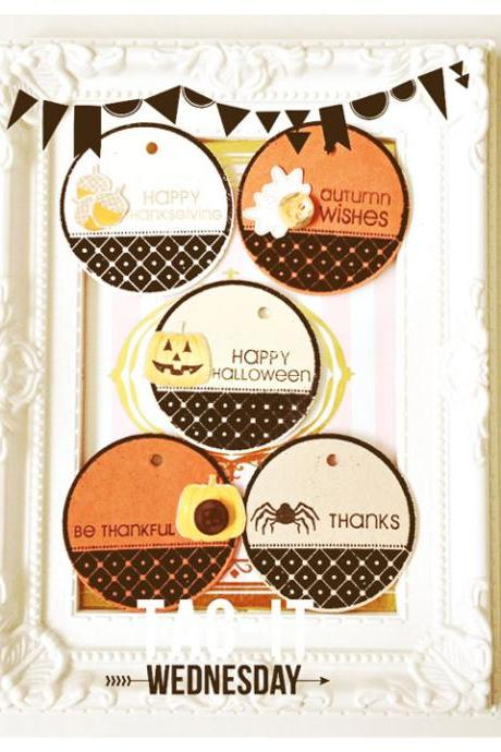 12pcs Round Halloween Tags