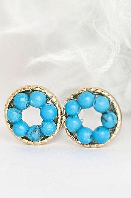 Turquoise Bead Stud Earrings, Tiny Blue Bead Circle Pave Ear Posts, Minimalist