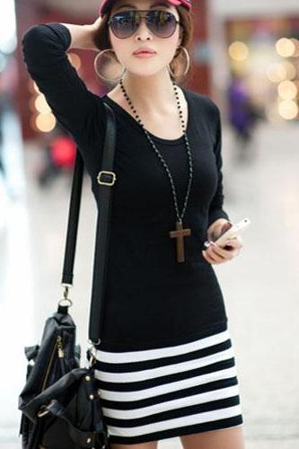 Women's Fashion Slim Fit Long Sleeves Striped Dress
