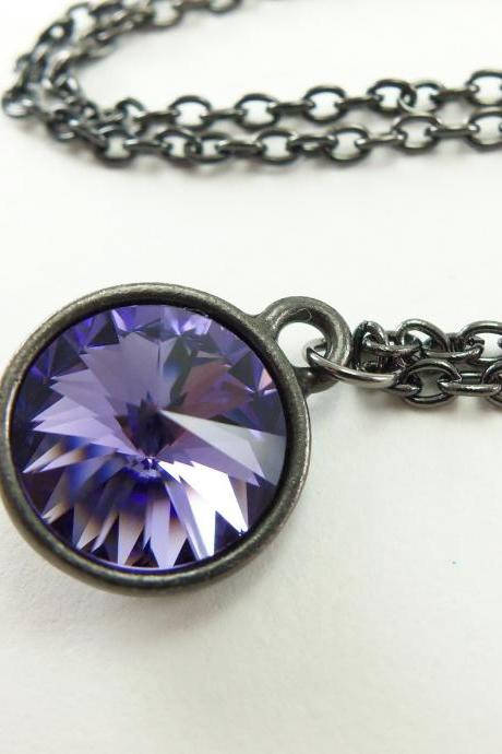 Purple Crystal Necklace Purple Necklace Dark Silver Modern Minimalist Rivoli