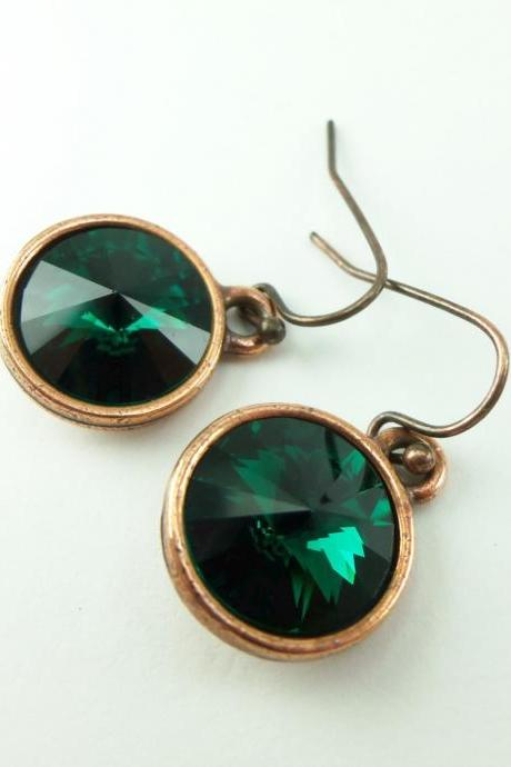 Emerald Copper Earrings Crystal Earrings May Birthstone Earrings Birthstone Jewelry Emerald Dangle Earrings Copper