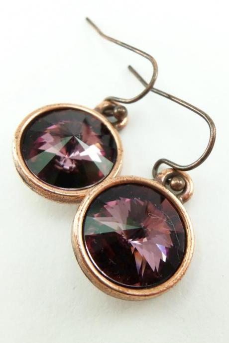 Mauve Earrings Antique Pink Drop Earrings Crystal Dangle Earrings Dark Pink Purple Earrings Copper Dangle Earrings