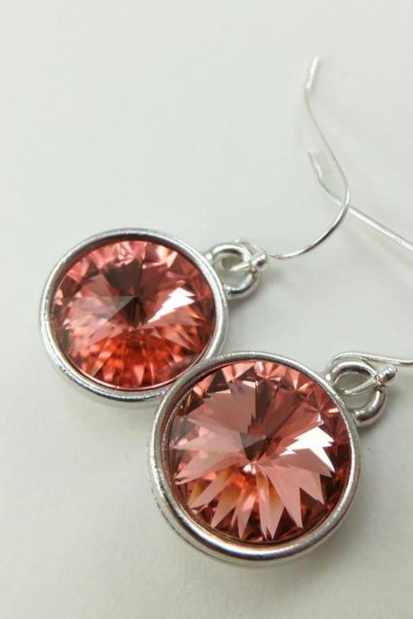Drop Earrings Peach Jewelry Sterling Silver Crystal Drop Earrings
