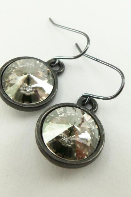 Silver Shade Gunmetal Drop Earrings Crystal Drop Earrings Swarovski Crystal Earrings Dark Silver Modern