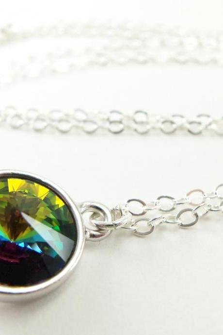 Crystal Rainbow Necklace Multi Color Necklace Rainbow Jewelry Sterling Silver Jewelry Rivoli Modern Crystal Necklace
