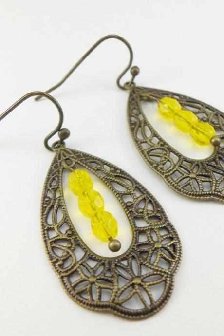 Bright Yellow Earrings Victorian Brass Teardrop Earrings Filigree Dangle Earrings Beaded Yellow Earrings