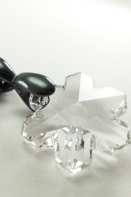 Winter Snowflake Necklace Crystal Jewelry Winter Fashion Dark Gray Necklace Winter Jewelry