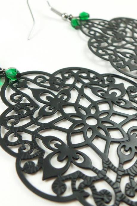 Green Black Earrings Large Filigree Statement Earrings Gunmetal