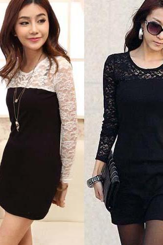 Women's Sexy Slim Fit Long Sleeves Lace Dress