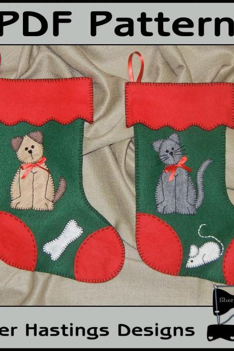 PDF Christmas Pattern for Felt Pets Stockings - Cat & Dog Christmas Stocking - Tutorial, DIY