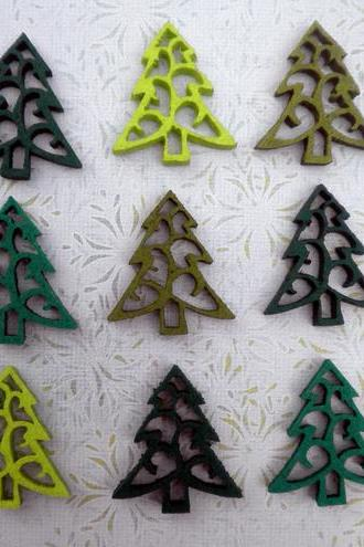 9x Mixed Green Felt Christmas Trees