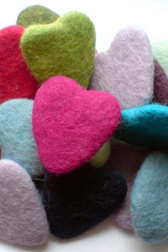 10 x Multi Pack Thick Wool Felt Hearts