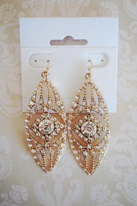 Althea Gold and Rhinestone Earrings