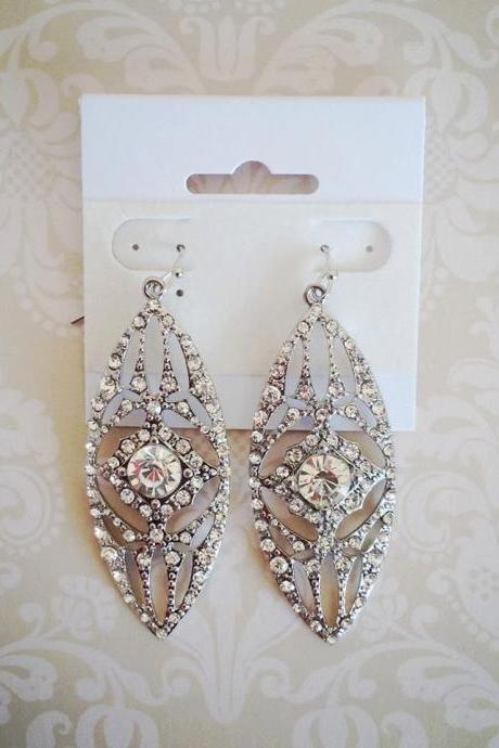 Althea Silver and Rhinestone Earrings