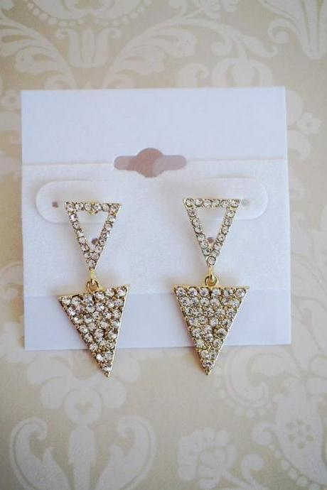 Triangle Gold & Rhinestone Drop Earrings