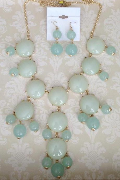 Large Mint Green Bubble Necklace Set