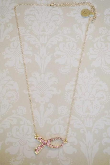 Pink Ribbon Necklace in Gold