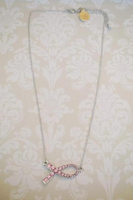 Pink Ribbon Necklace in Silver