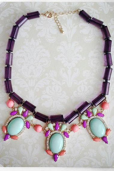 Southern Party Necklace in Purple