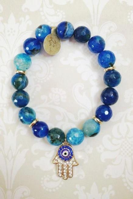 Beaded Hamsa Hand Bracelet in Blue
