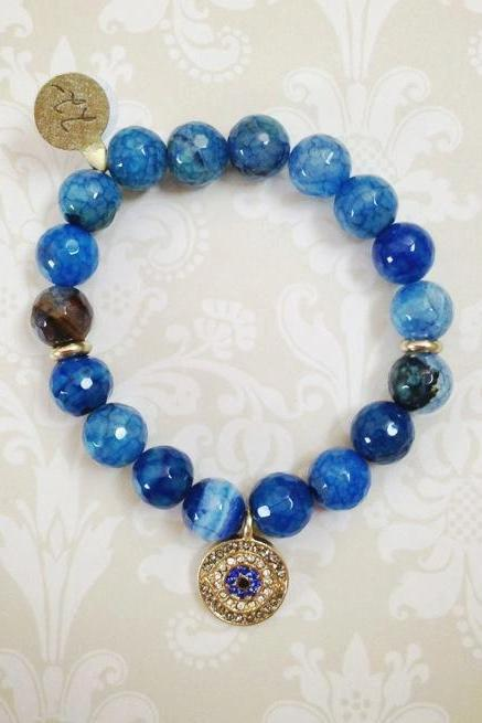 Beaded Evil Eye Bracelet in Blue