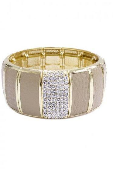 Leather & Rhinestone Stretch Bracelet in Beige