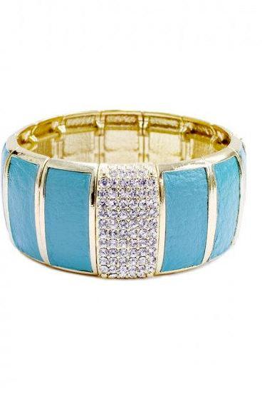 Leather & Rhinestone Stretch Bracelet in Turquoise