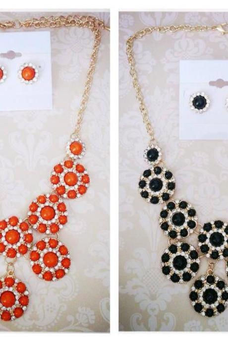 Bella Rose Necklace Set in Orange or Black