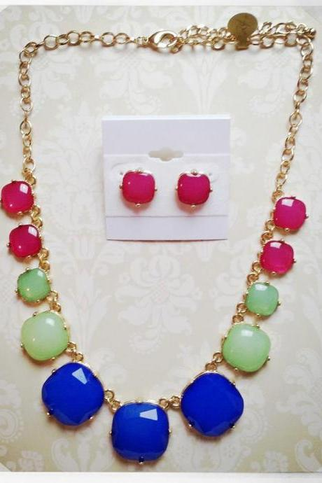 Amanda Necklace Set in Blue, Green & Pink